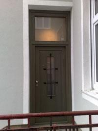 Врата входна масивна с оберлихт стъклопакет