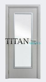 Бяла интериорна врата с правоъгълно остъкляване