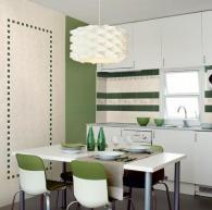 Кухненски стенни облицовки в бяло и зелено