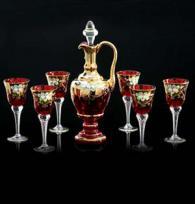 Кристален сервиз 6 чаши и гарафа -04 -позлата