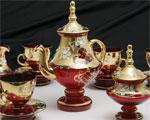Кристален сервиз за чай, кафе - червен с позлата
