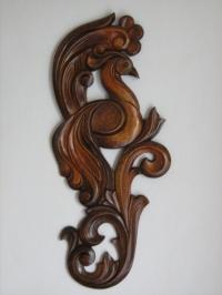 Дърворезба на пано птица