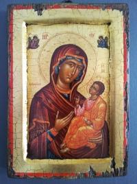 Авторска икона от дърво Богородица Умиление