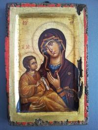 Авторска икона от дърво Богородица Одигитрия