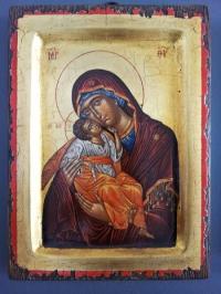 Авторска икона от дърво Богородица Умиление 2