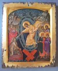 Авторска икона от дърво Възкресение Христово