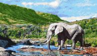 Декоративна мозайка за стена - картина Слон