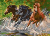 Мозайка за стена - Бягащи коне